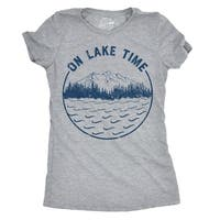 Womens On Lake Time Tshirt Funny Summer Vacation Outdoors Tee