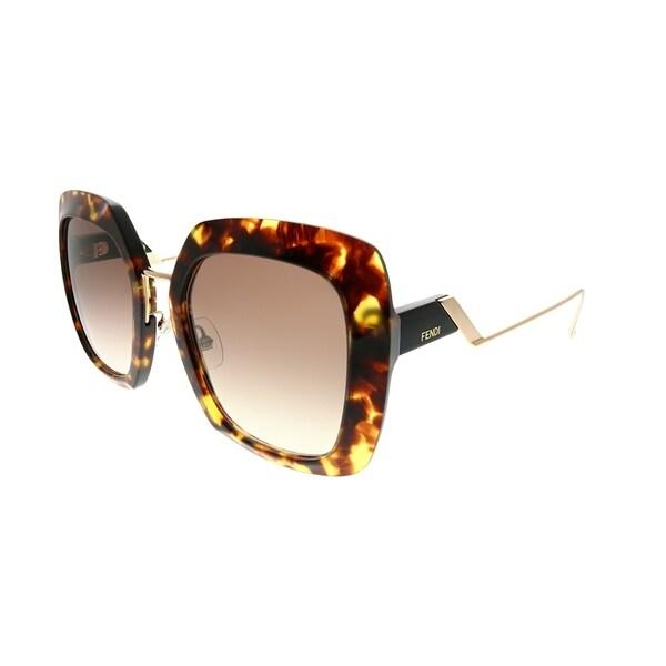 37ecdc1e293d Fendi Square FF 0317 S Tropical Shine 086 HA Women Dark Havana Frame Brown  Gradient