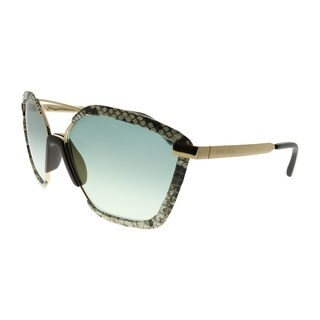 Jimmy Choo Square Leon/S 09Q EZ Women Brown Snake Skin Frame Brown Mirror Gradient Lens Sunglasses
