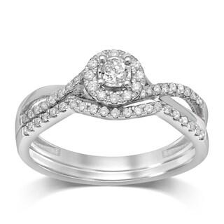 Unending Love 10K White Gold 1 3 Cttw Diamond Halo Bridal Set
