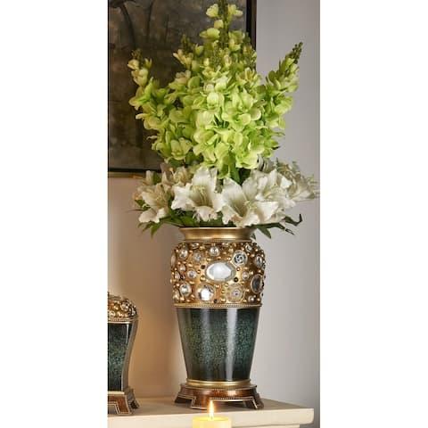 Sedona Marbelized Green/ Gold Accent Decor Vase