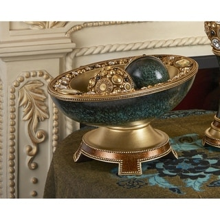 Delicata Green/ Gold Decorative Accent Bowl