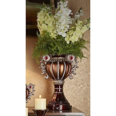 Delicata Bronze Silver Urn Accent Decor Vase