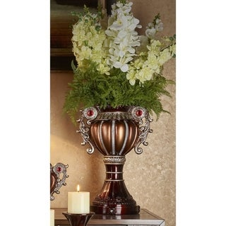 Delicata Bronze Silver Urn Accent Decor Vase
