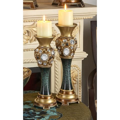 Sedona Marble Green/ Gold Candleholder Set of 2
