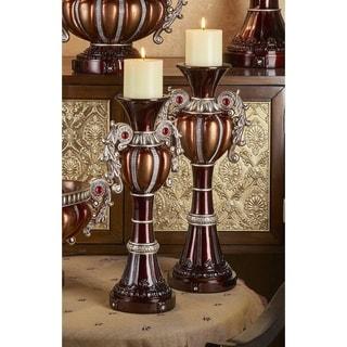 Delicata Bronze Silver Candleholder Set of 2