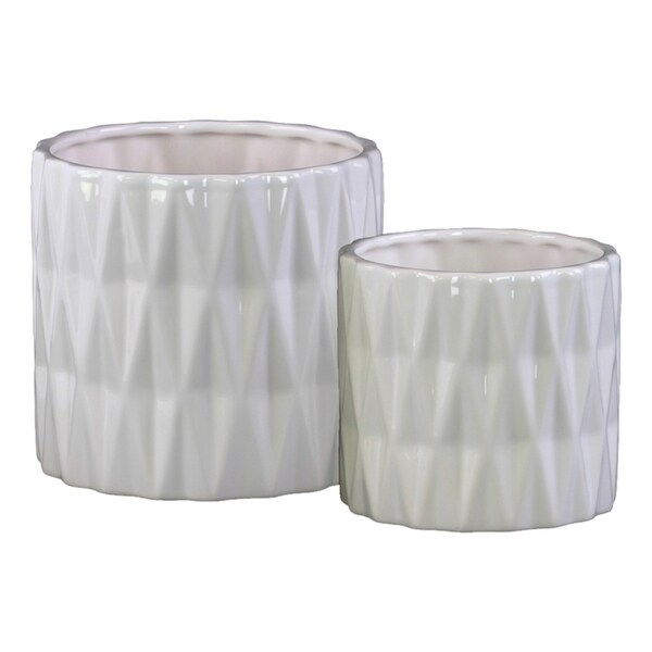Urban Trends Ceramic Cylindrical Round Pot with Polygonal Pattern in Gloss Finish, White - Set of 2
