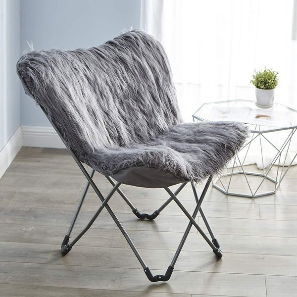 Shop Faux Fur Butterfly Chair - Dark Gray - Free Shipping Today - Overstock - 23582727 : faux fur butterfly chair - lorbestier.org