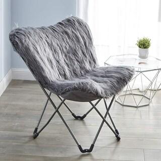Faux Fur Butterfly Chair - Dark Gray