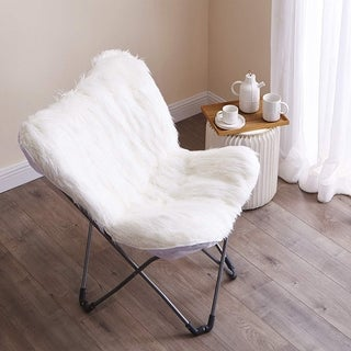 Faux Fur Butterfly Chair - White