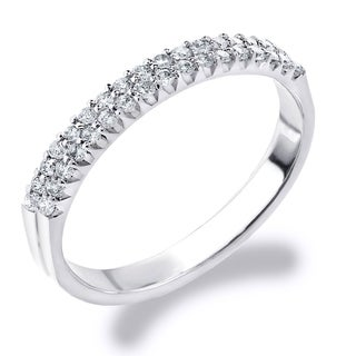 0.25 CTTW Double Row Diamond Ring in 10K White Gold by Amore