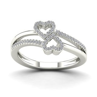AALILLY 10k White Gold 1/6ct TDW Diamond Double Heart Fashion Ring (H-I, I1-I2)