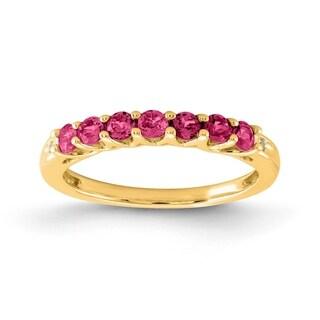 Versil 10 Karat Yellow Gold Created Ruby Birthstone Band With Diamonds