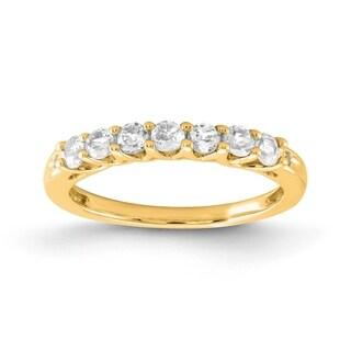 Versil 10 Karat Yellow Gold White Topaz Birthstone Band With Diamonds