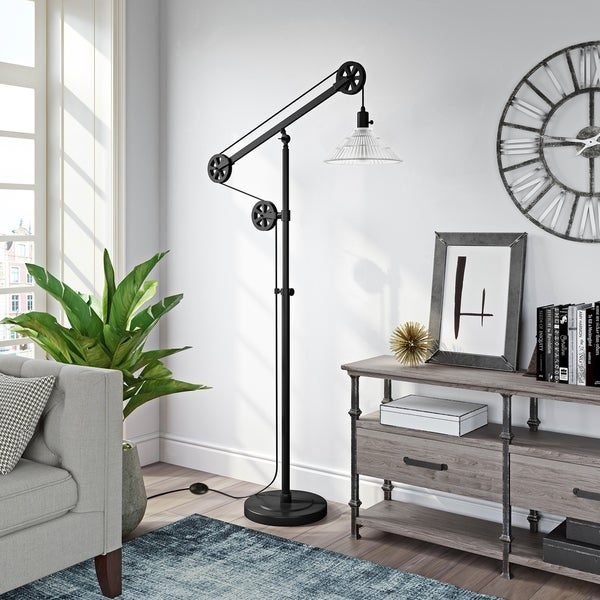 Descartes Floor Lamp In Blackened Bronze Finish With Pulley System And Ribbed Gl Shade
