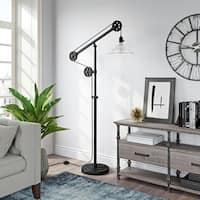 Descartes Floor Lamp in Blackened Bronze Finish with Pulley System and Ribbed Glass Shade