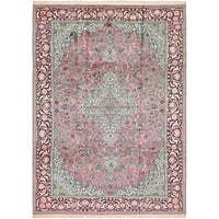 Hand Knotted Kashmir Silk Area Rug - 7' 9 x 11'