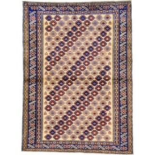 Hand Knotted Kazak Wool Area Rug - 4' 1 x 5' 7