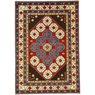 Hand Knotted Kazak Wool Area Rug - 4' 9 x 6' 9