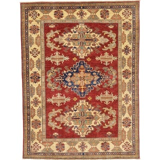Hand Knotted Kazak Wool Area Rug - 5' 9 x 7' 8