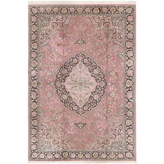 Hand Knotted Kashmir Antique Silk Area Rug - 6' x 9' 2