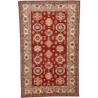 Hand Knotted Kazak Wool Area Rug - 5' 7 x 8' 9
