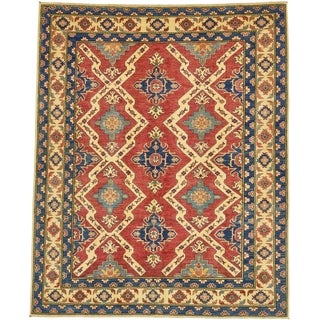 Hand Knotted Kazak Wool Area Rug - 5' 10 x 7' 2