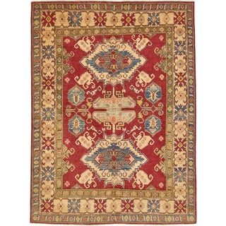 Hand Knotted Kazak Wool Area Rug - 5' 10 x 7' 10