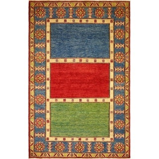 Hand Knotted Kazak Wool Area Rug - 5' 7 x 8' 10