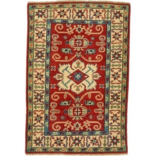 Hand Knotted Kazak Wool Area Rug - 2' 9 x 4'