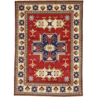 Hand Knotted Kazak Wool Area Rug - 4' 10 x 6' 10