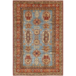 Hand Knotted Kazak Wool Area Rug - 6' x 9' 3