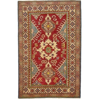 Hand Knotted Kazak Wool Area Rug - 3' 9 x 5' 9