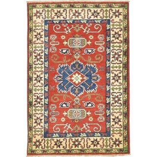 Hand Knotted Kazak Wool Area Rug - 2' 9 x 4' 2