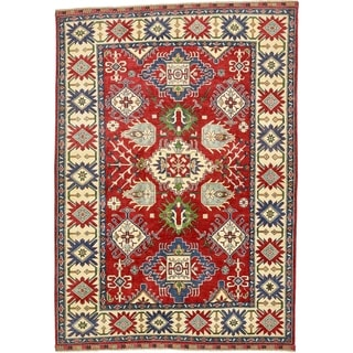 Hand Knotted Kazak Wool Area Rug - 6' 10 x 9' 9