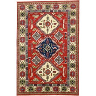 Hand Knotted Kazak Wool Area Rug - 6' 6 x 9' 10