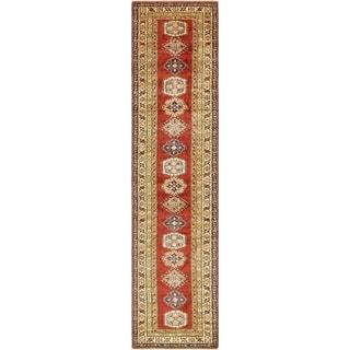Hand Knotted Kazak Wool Runner Rug - 2' 6 x 10' 10