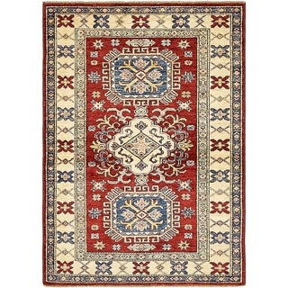 Hand Knotted Kazak Wool Area Rug - 3' 4 x 4' 10