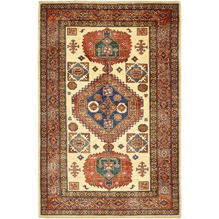 Hand Knotted Kazak Wool Area Rug - 4' x 6' 4