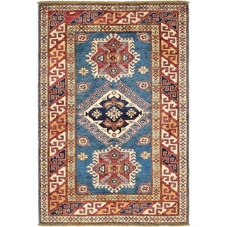 Hand Knotted Kazak Wool Area Rug - 3' 3 x 5'