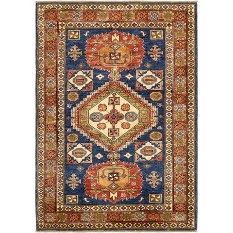 Hand Knotted Kazak Wool Area Rug - 4' x 5' 10