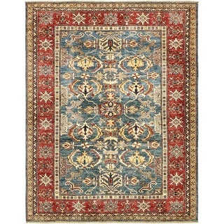 Hand Knotted Kazak Wool Area Rug - 5' x 6' 9
