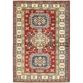 Hand Knotted Kazak Wool Area Rug - 3' 2 x 4' 7
