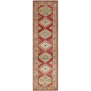 Hand Knotted Kazak Wool Runner Rug - 2' 6 x 10' 2