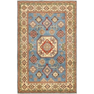 Hand Knotted Kazak Wool Area Rug - 5' 9 x 9' 2