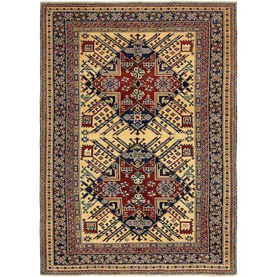 Hand Knotted Kazak Wool Area Rug - 5' x 7'