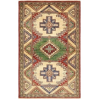 Hand Knotted Kazak Wool Area Rug - 3' 3 x 5' 4