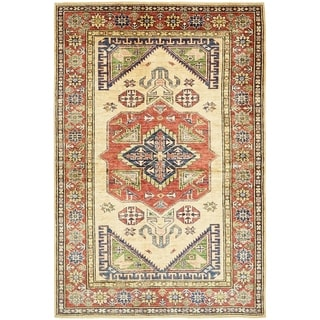 Hand Knotted Kazak Wool Area Rug - 4' 2 x 6' 4