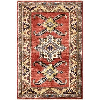 Hand Knotted Kazak Wool Area Rug - 2' 7 x 3' 10