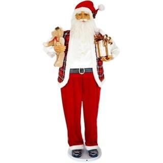 "Fraser Hill Farm 58"" Dancing Santa with Teddy Bear and Gift"